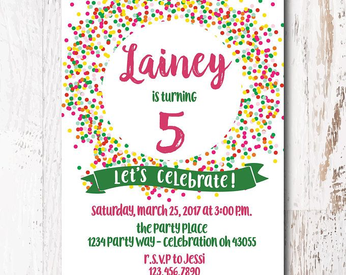 Colorful Birthday Invitations - Pink Birthday Invitations, Green