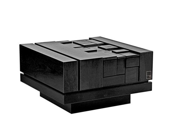 mstrf / abaci blak - 32 x 32 black lacquer oak modern coffee table