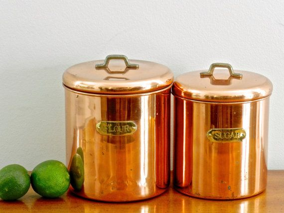 Large Vintage Copper Canister Set Flour Canister Sugar Canister Kitchen  Storage French Country Rustic Coastal Decor