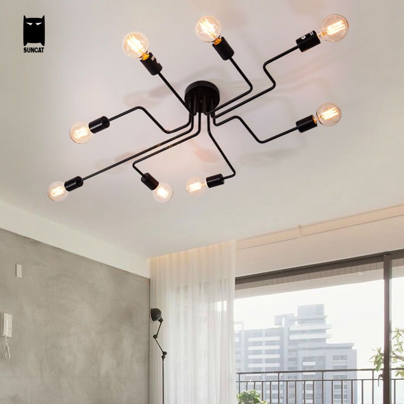Iron Tube Black White Ceiling Light Fixture Modern Retro - industrial vintage wohnhaus loft stil