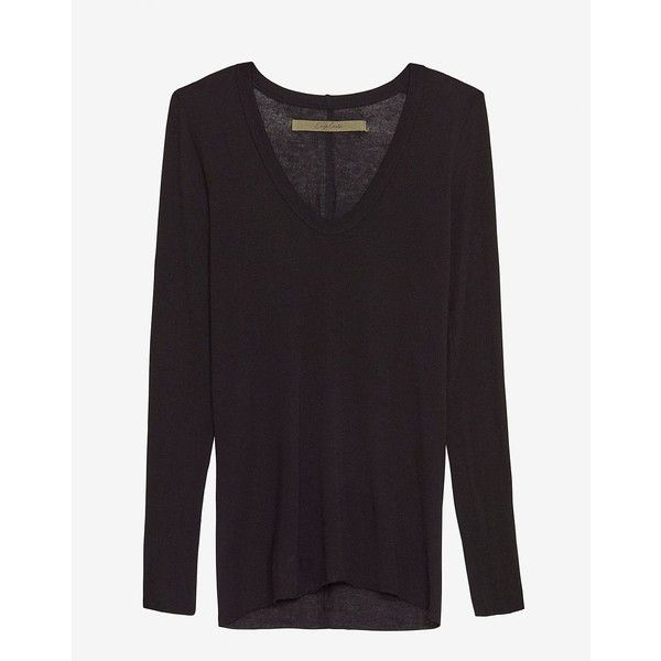 Enza Costa U Neck Jersey Tee: Black (185 CHF) ❤ liked on Polyvore featuring tops, t-shirts, black, long sleeve tee, jersey tee, jersey long sleeve t shirts, long sleeve tops and black long sleeve tee