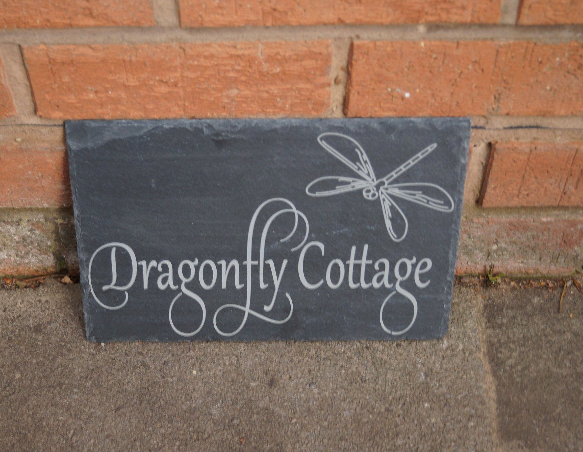 Slate House Sign Shed Sign Dragonfly Image House Sign