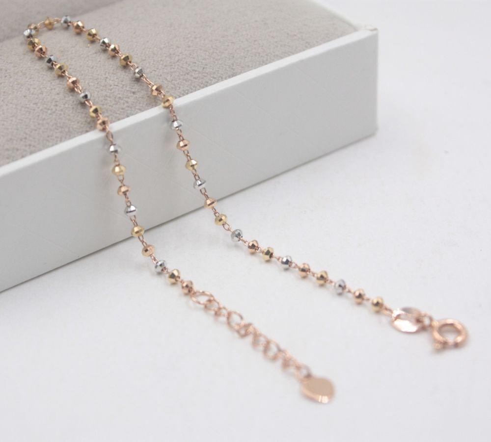 Fine k multitone gold bangle women perfect beads link bracelet