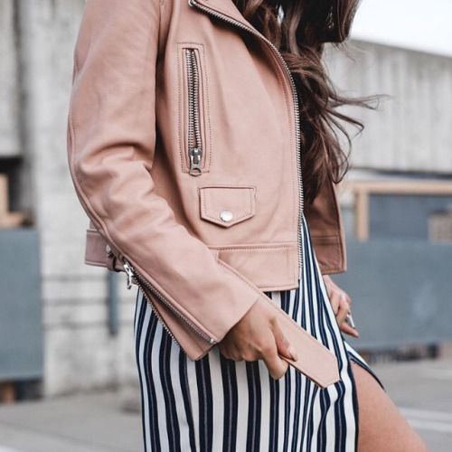 da62e5a4e1370 A blush pink leather jacket for Spring? We are all over that ...
