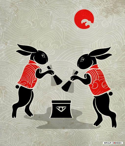 Moon rabbits, busy mochi-makers :)
