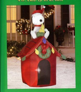 amazoncom christmas 4 tall santa snoopy woodstock doghouse led airblown inflatable christmas lawn decorationsoutdoor - Christmas Lawn Decorations Amazon