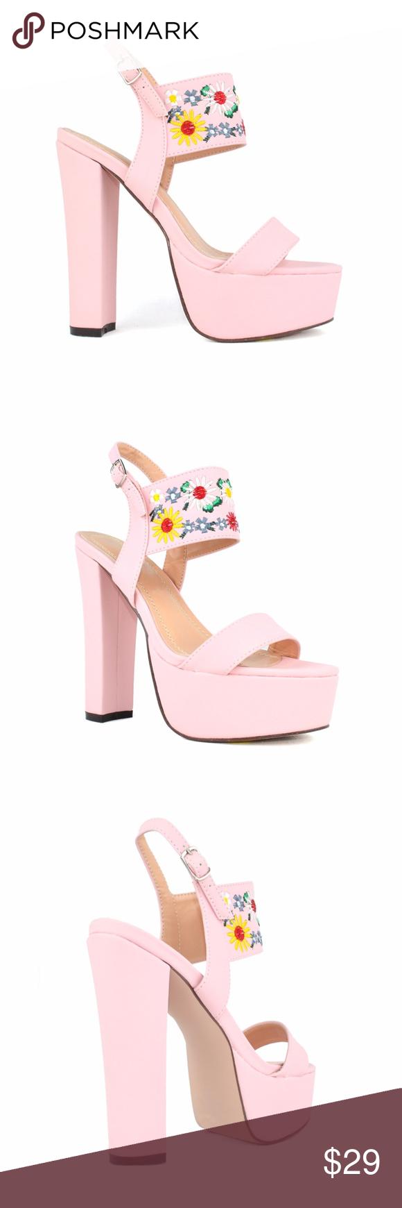 Chase Chloe Cali Pink Flower Heeled Platform Boutique Pinterest
