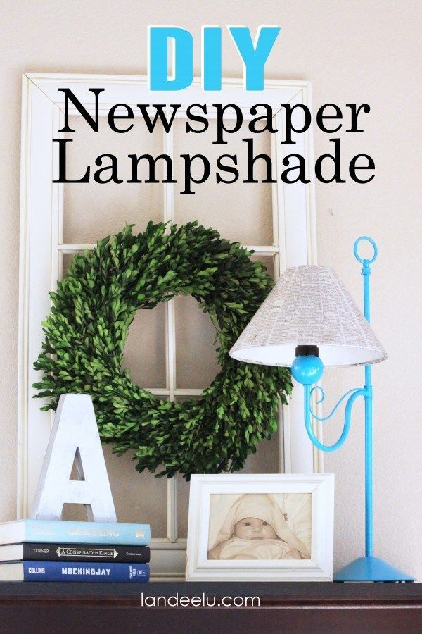 DIY NEWSPAPER LAMPSHADE MAKEOVER Rather than throw away an old lamp shade, it just needs a little TLC and a major lampshade makeover! #DIYLampshade   #LampShadeMakeOver
