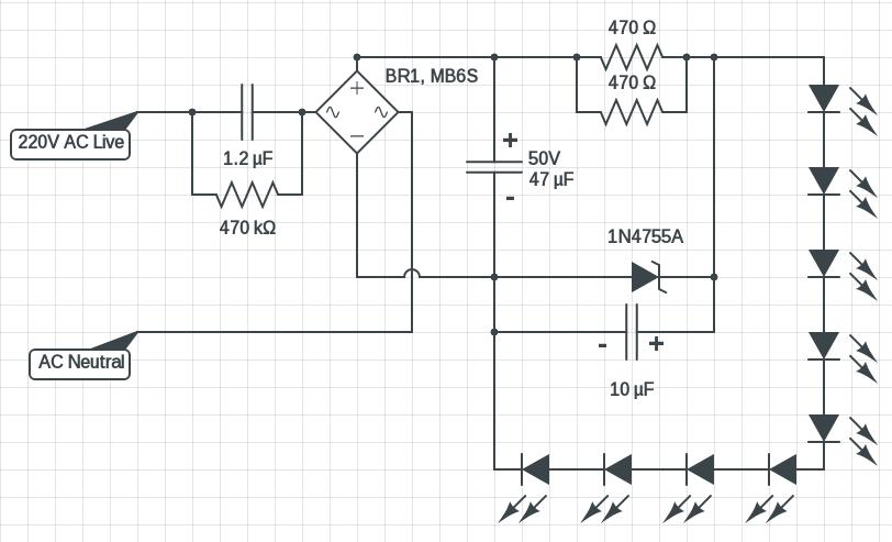 220V LED circuit diagram 3 Watt | electronics | Pinterest | Circuits ...