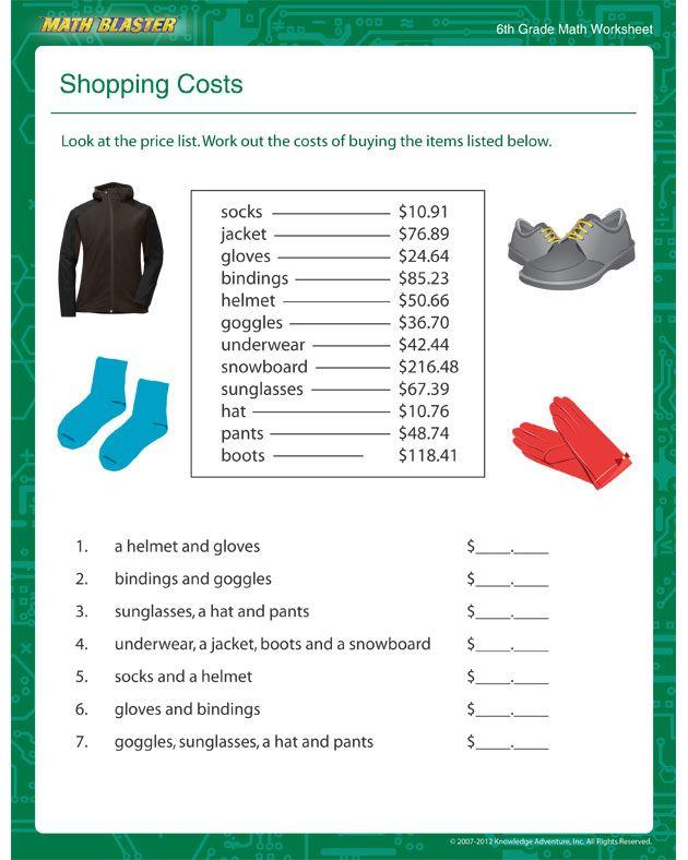 Shopping Costs Free Printable Math Worksheets For 6th Grade Math Worksheets Printable Math Worksheets Free Printable Math Worksheets Shopping math worksheet