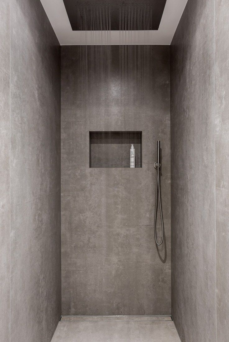 A Stunning Walk In Shower With Grey Concrete Finish Bathroom