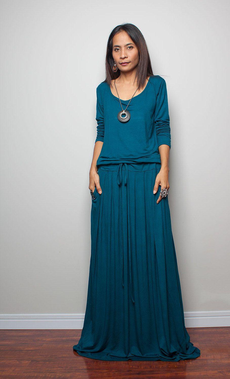 Plus size teal maxi dress long sleeve dress autumn thrills
