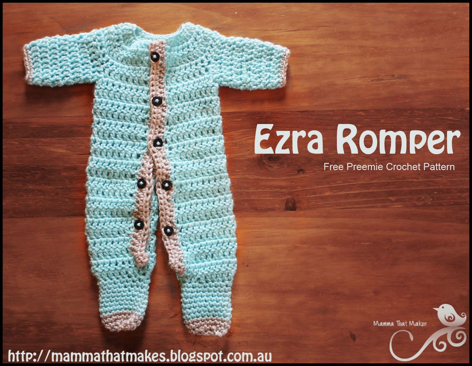 Ezra Romper. A free crochet prem baby pattern from Mamma That Makes ...
