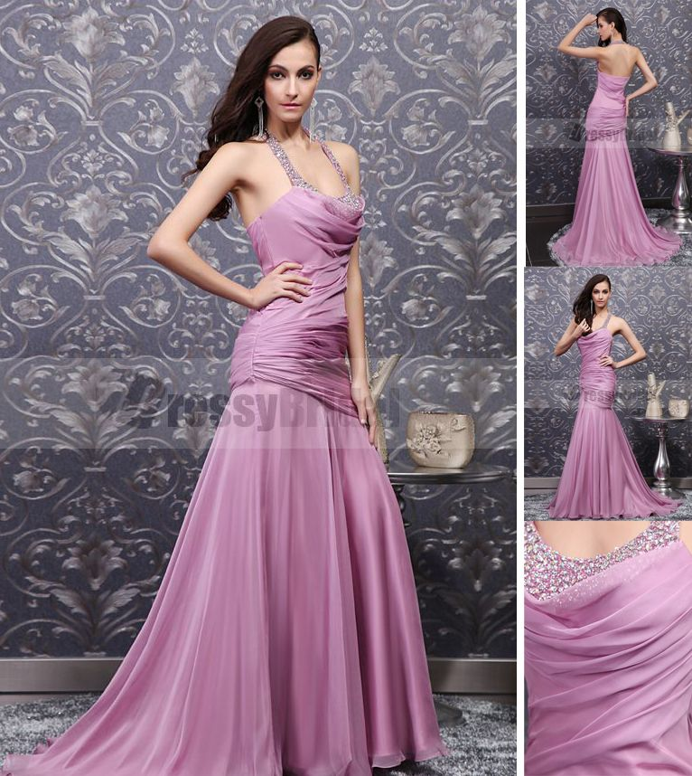 So charming!Wear this for the upcoming prom 2013!www.dressybridal.com/lilac-trumpet-mermaid-halter-sweep-train-chiffon-prom-dress-with-crystals-66579.html