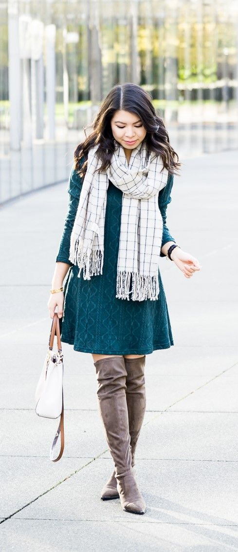8b93834fd2a Cable sweater dress with over the knee boots and checked scarf