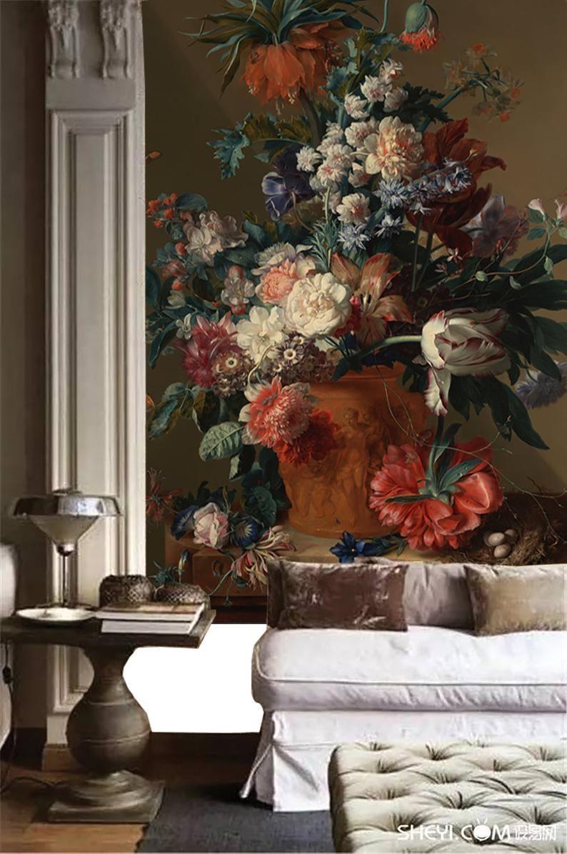 Dutch Dark Vintage Floral Art Removable Wallpaper Still Life Etsy Painting Wallpaper Floral Art Still Life Flowers