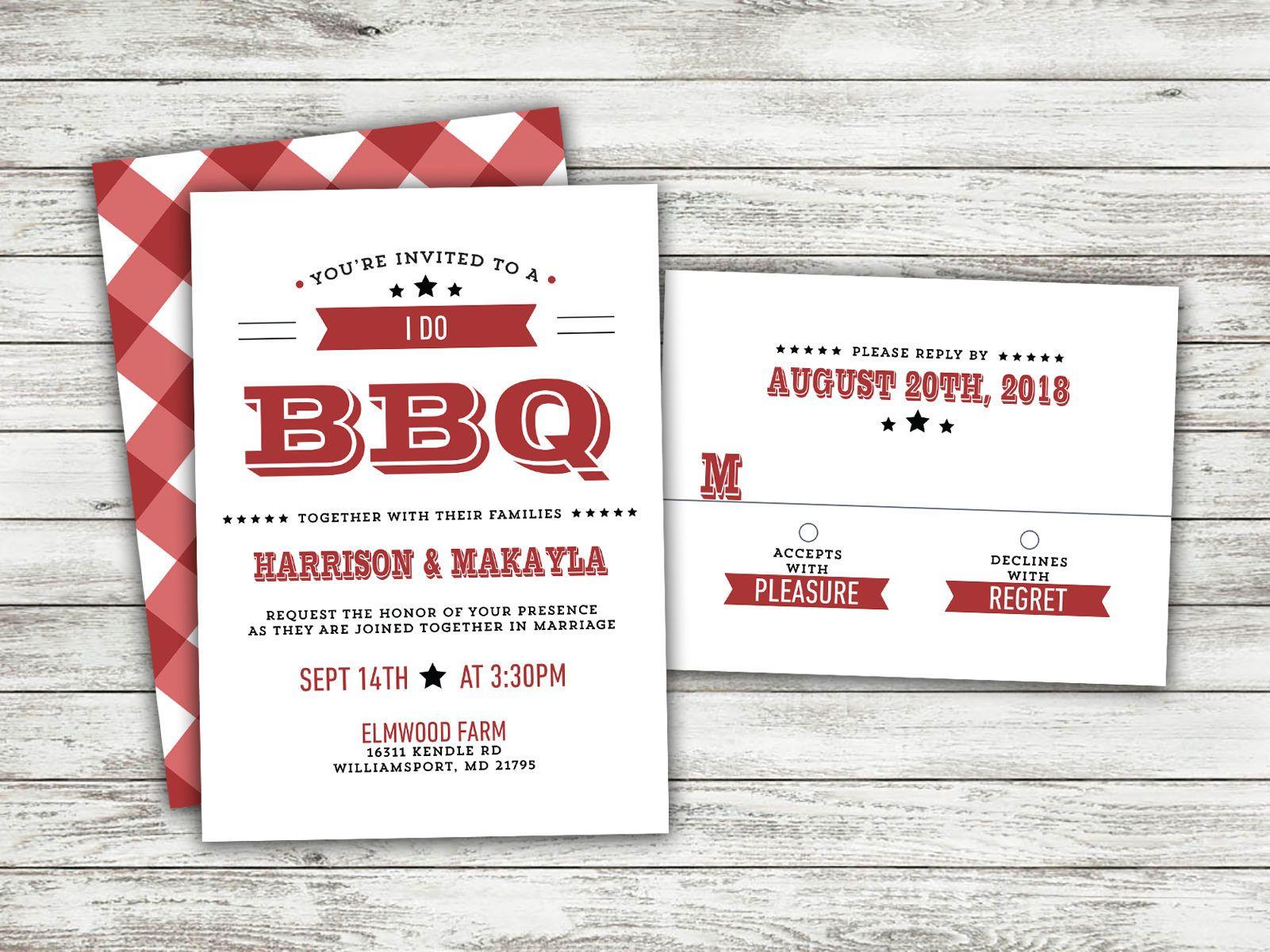 I Do BBQ Wedding Invitations Set Printed, Rustic Wedding, Burlap ...