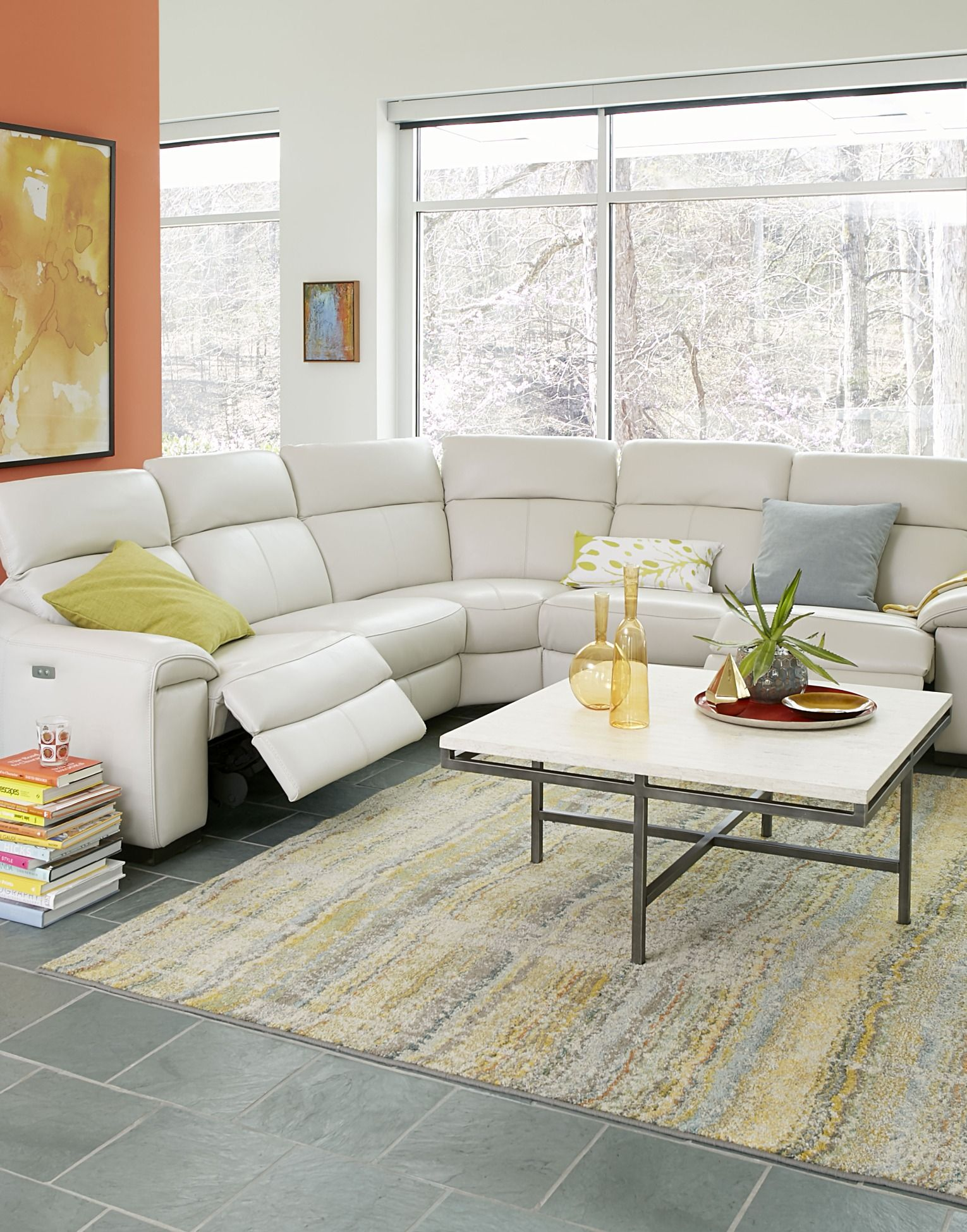 Kelsee Fabric and Leather Power Reclining Sectional Sofa
