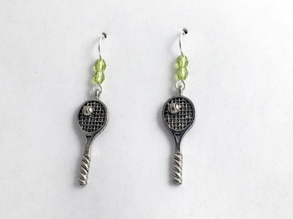 Small Tennis Racket Earrings - Sterling Silver CM5Aw
