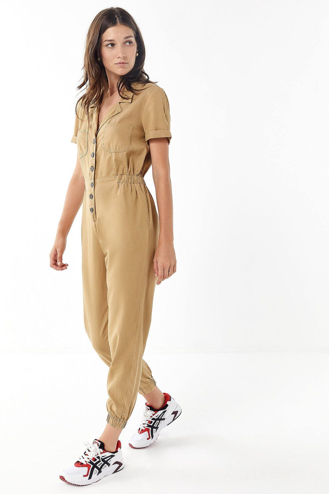 1edccda9880 UO Lucy Collared Button-Front Jumpsuit