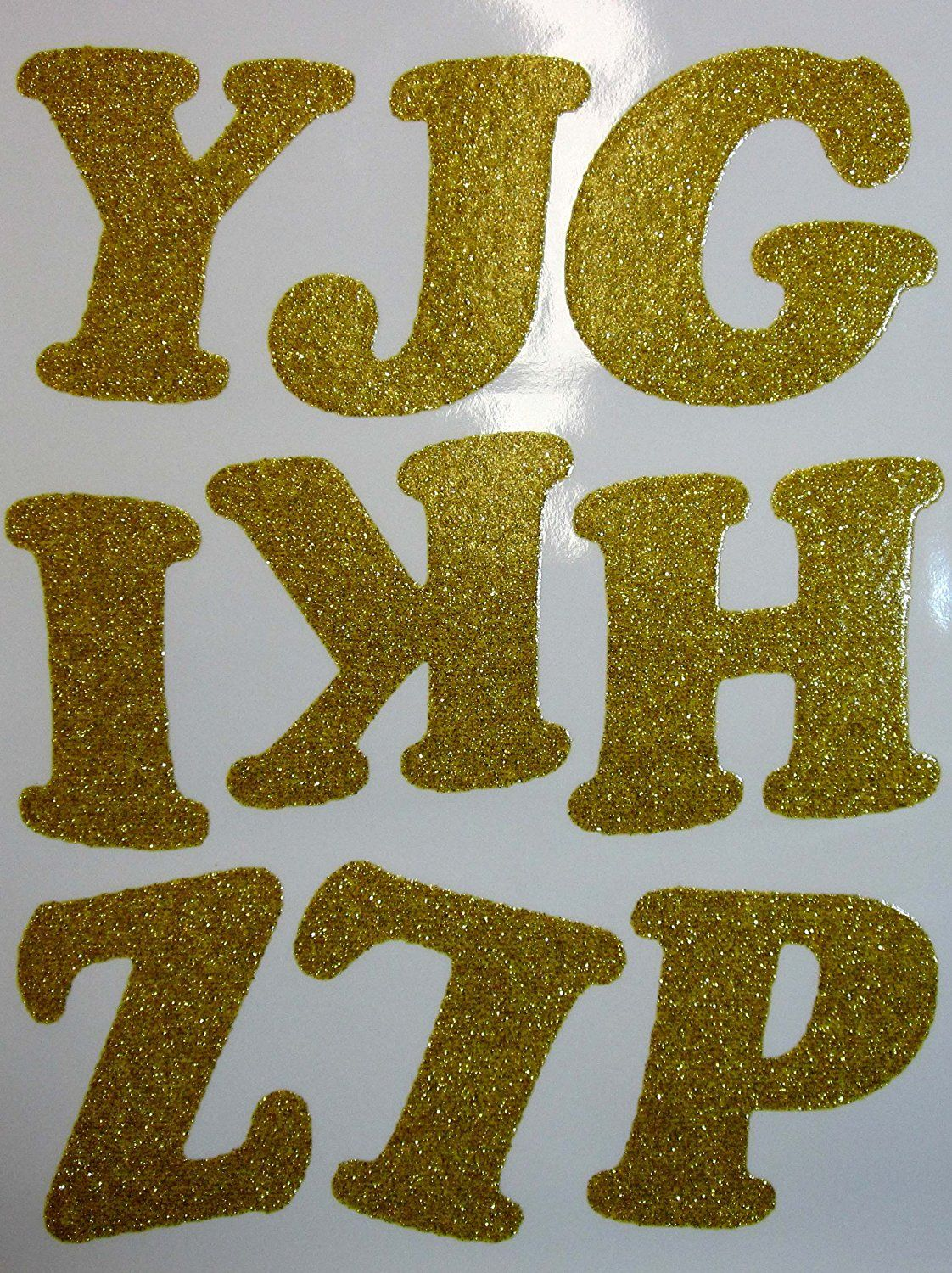 DIY 3 Inch Iron On Letters in Gold Glitter