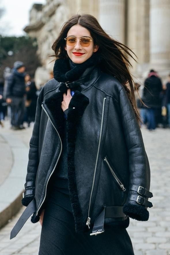 Street Style Leather Jacket Red Lipstick Cool Street Fashion