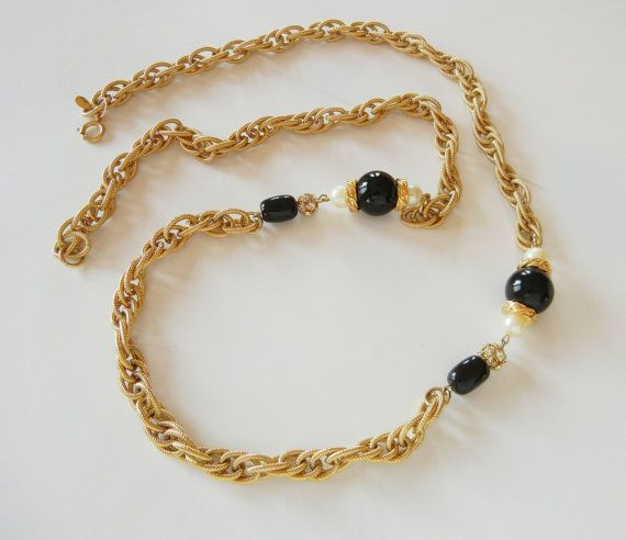 Givenchy Gold Tone Onyx & Pearl Long Chain by RockArtemisVintage