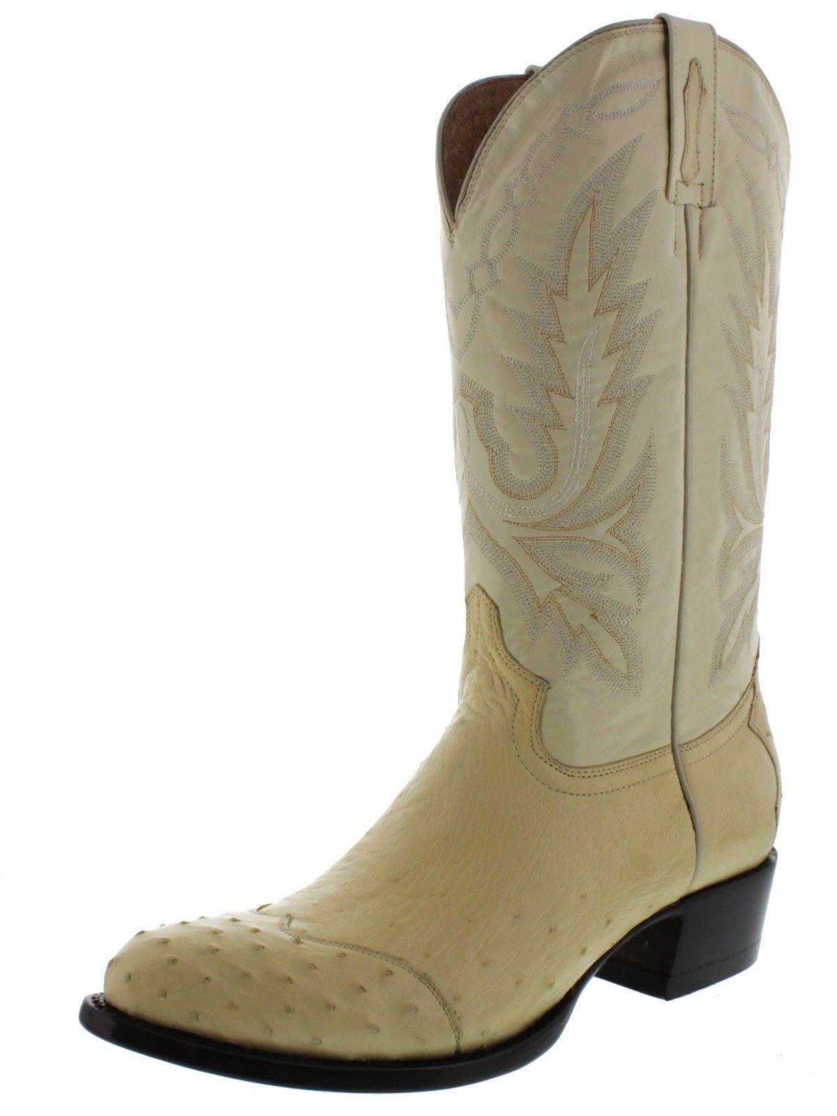 Men's genuine ostrich skin cowboy boots off white wing tip round toe western