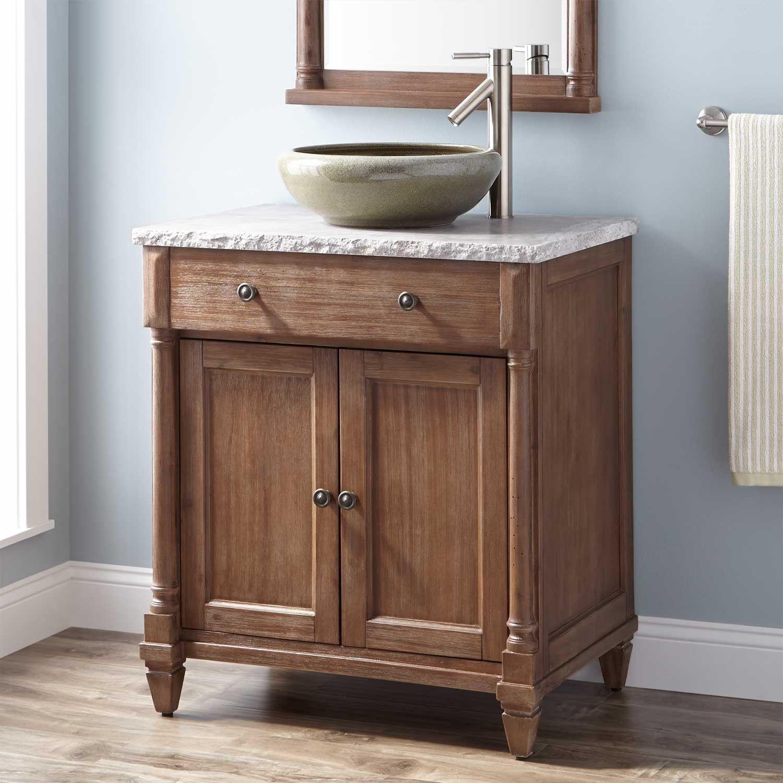 30 Neeson Vessel Sink Vanity Rustic Brown Small Bathroom