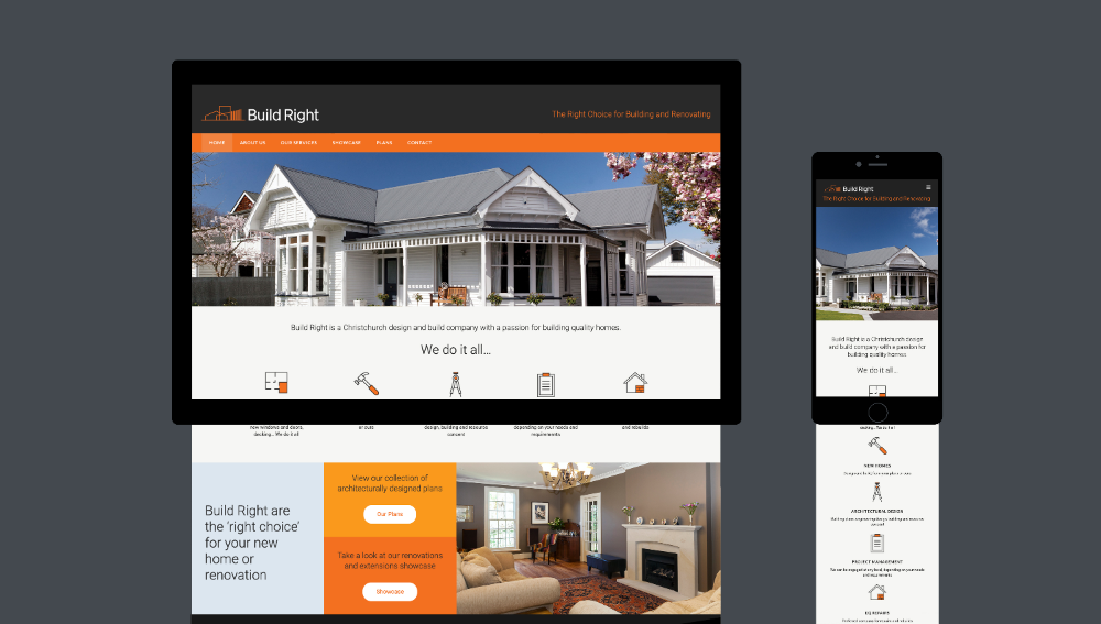 Build Right Website Design Graphic Design By Robertson Creative Christchurch New Zealand Site Design Website Design Construction Company