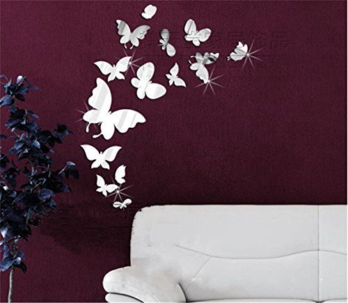 Butterflies Flying Modern Fashional Mirror Clock Wall Decal Home Rhpinterest: Wall Stickers For Bedroom Butterfly At Home Improvement Advice