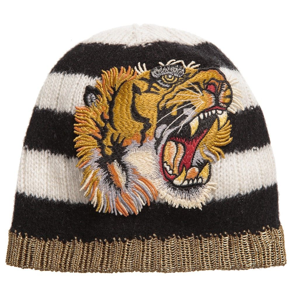 a0e55f0b5222bc Gucci - Striped Wool & Cashmere Tiger Hat | Childrensalon | GUCCI ...