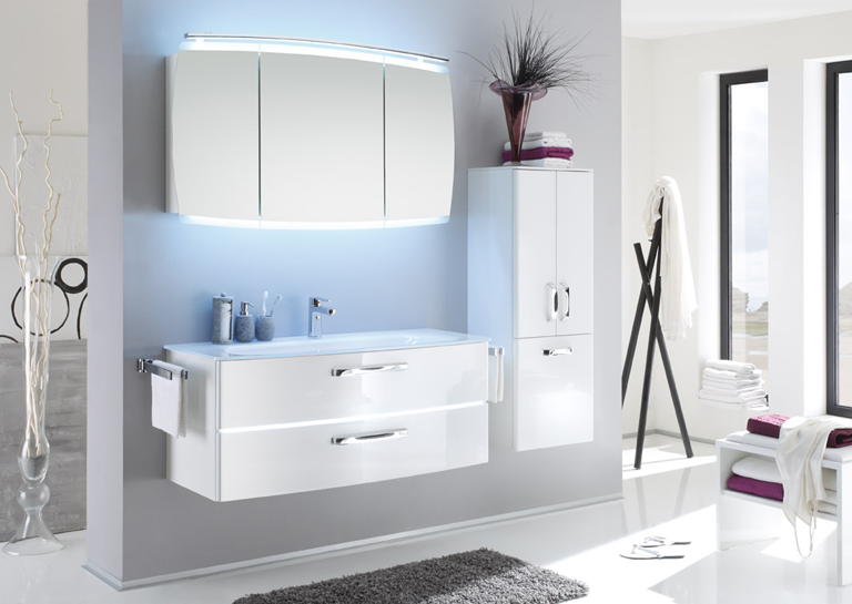 Pic Of Pelipal Tiva mirror glass basin u vanity unit including LEDs available in a variety