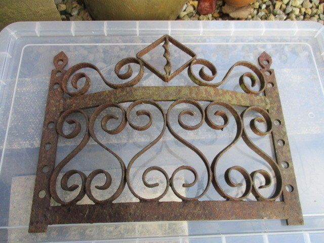 Antique Wrought Iron Fireplace Fender Front Grate Grill Twisted ...