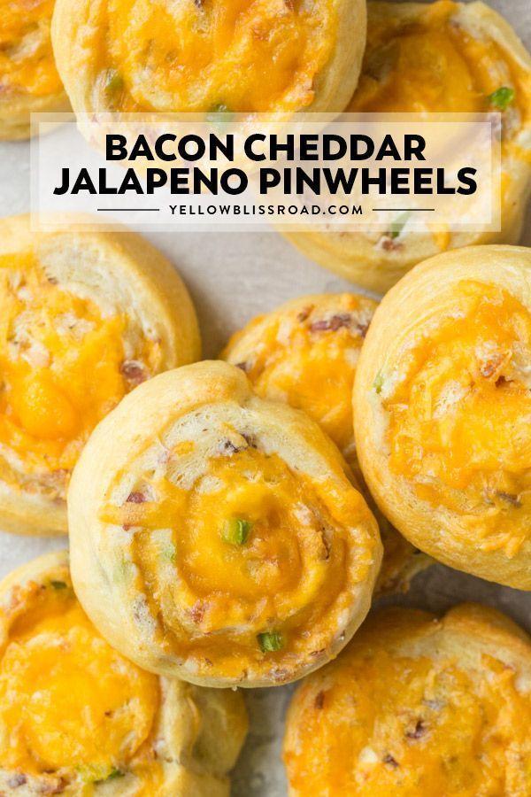 Baked Bacon Cheddar Jalapeno Popper Pinwheels | YellowBlissRoad.com