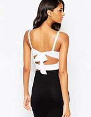 ASOS Crop Top With Tie Back and Plunge Neck