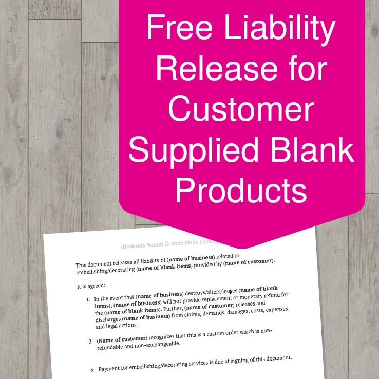 Free Download Editable Liability Release for Customer Provided - liability document