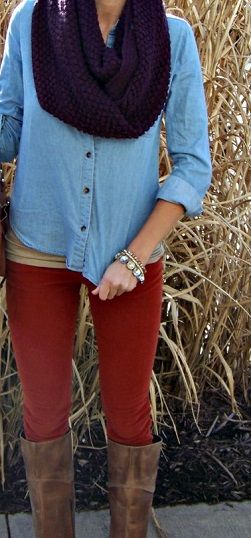 thrown together, relaxed look, but the red pants make it interesting