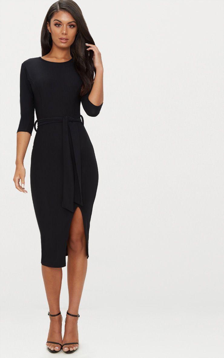 Black Tie Detail 3 4 Sleeve Midi Dress Midi Dress With Sleeves Dresses Midi Dress [ 1180 x 740 Pixel ]