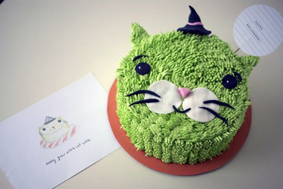 Halloween Cake Tutorial! Hairy Green Witch Cat! | Coco Cake Land - Cake…