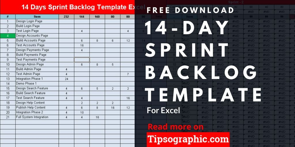 14 Day Sprint Backlog Template for Excel, Free Download