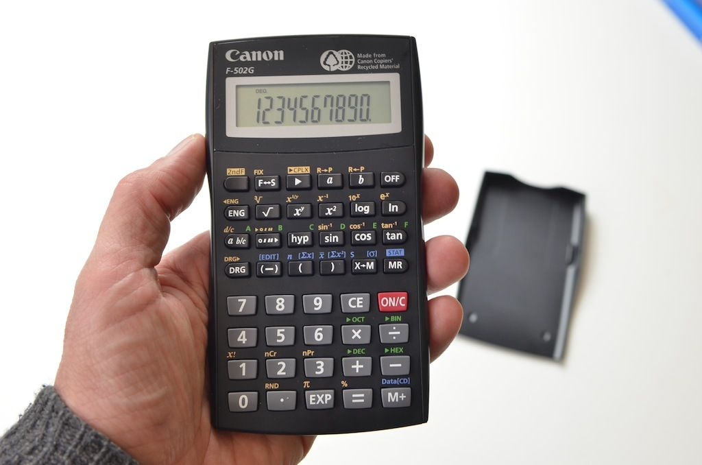 Canon F-502G. Scientific calculator made from recycled Canon printers :-)