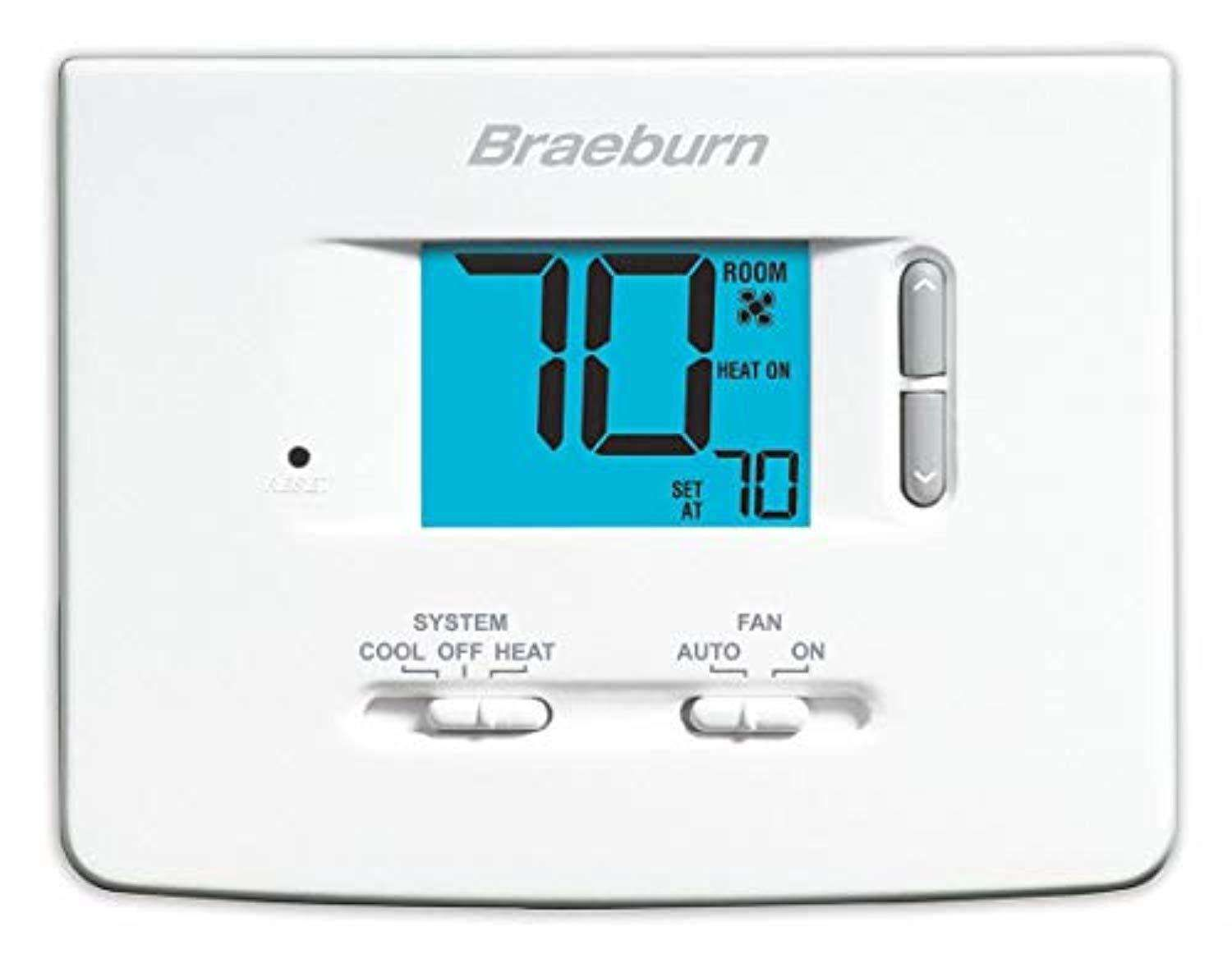 [shortdesc] Application Single Stage (Heat/Cool) Stages 1 Heat/1 Cool User Interface Push Button Programmability Non-Programmable Power Method Hardwired/Battery Voltage 24v [/shortdesc] Braeburn economical 1020NC thermostat is a simple single-stage dual-powered thermostat that is easy to see and set. Features: Large 2 sq. In. Display with bright blue backlight Adjustable temperature limits, Hardwire or battery-powered Permanent memory retains settings, compressor short cycle protection Separate