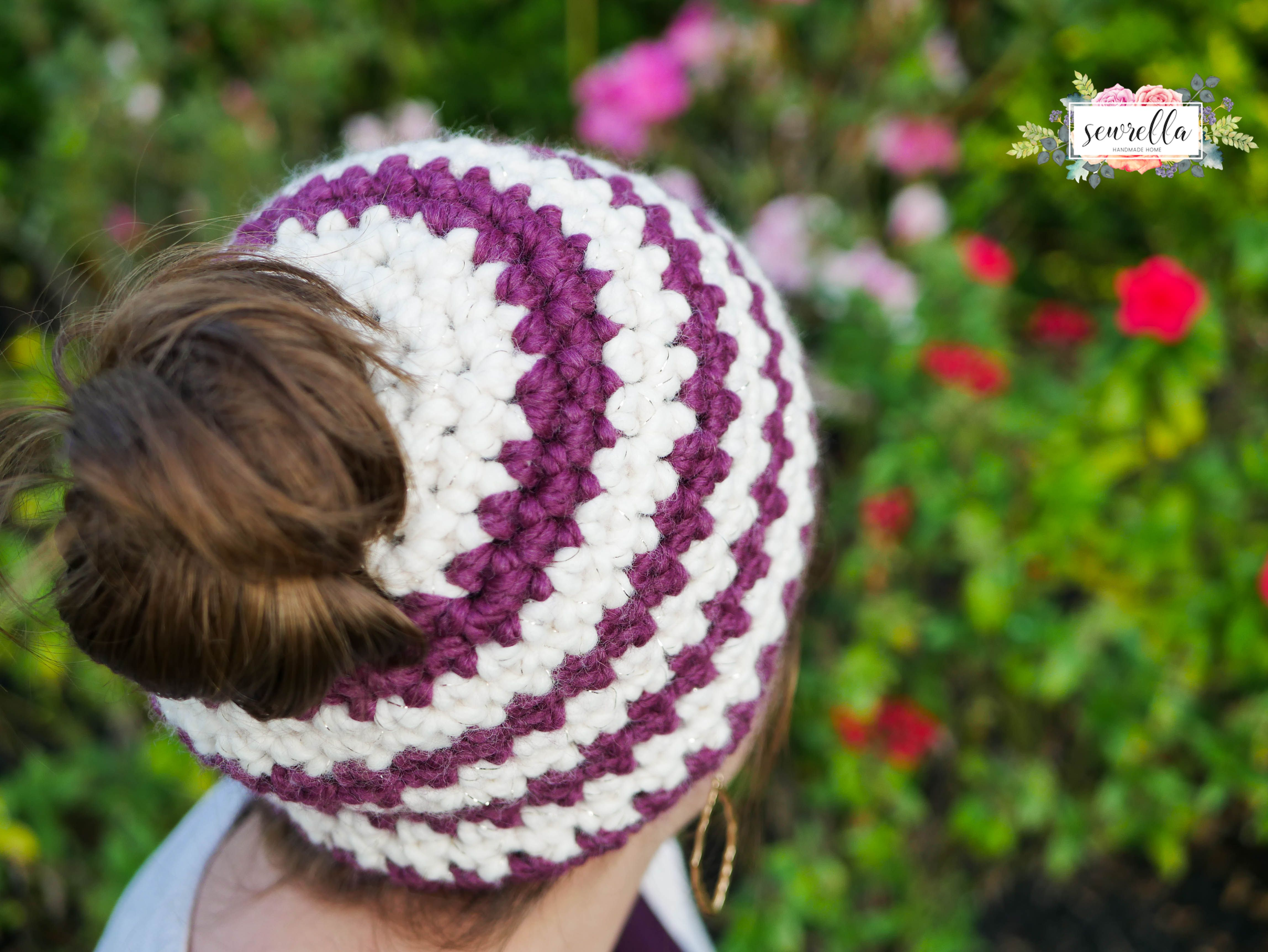 Crochet 1 hour Messy Bun Beanie | Messy buns, Crochet and Craft