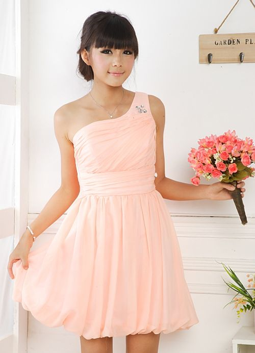 Nitfy Princess Orange Ruffle Juniors Formal Dresses Item Code