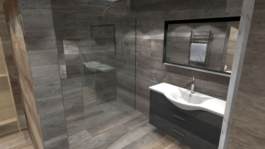 A Virtual Design For A Large Luxury Wetroom Tiled With Oak Effect Porcelain T