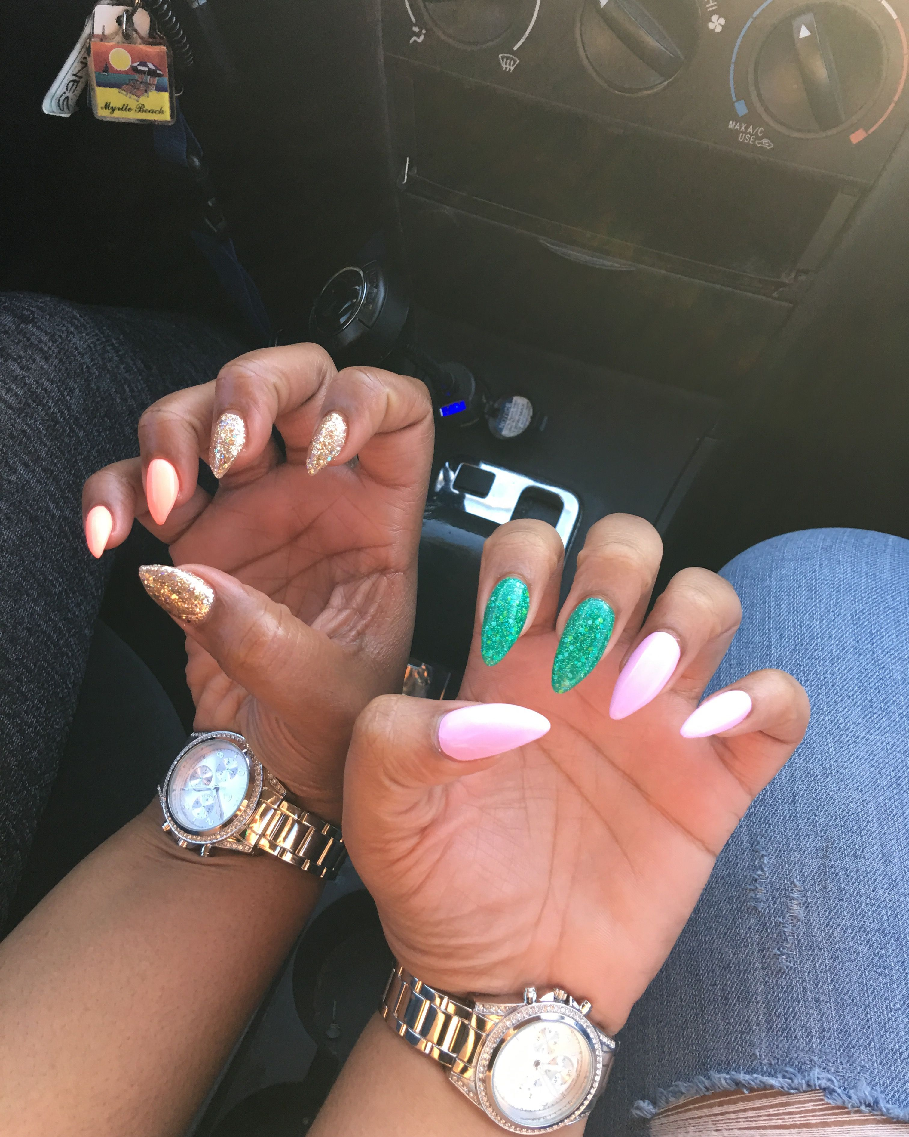 Stiletto Nails D.I.G dipped in gold Mermaid Green Nails Pink & Green ...