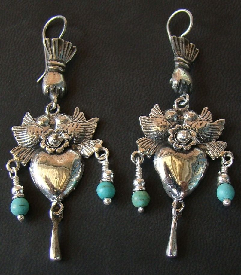 Frieda Kahlo Sterling And Turquoise Earrings Mexican Silver Jewelry Beautiful Jewelry Mexican Jewelry