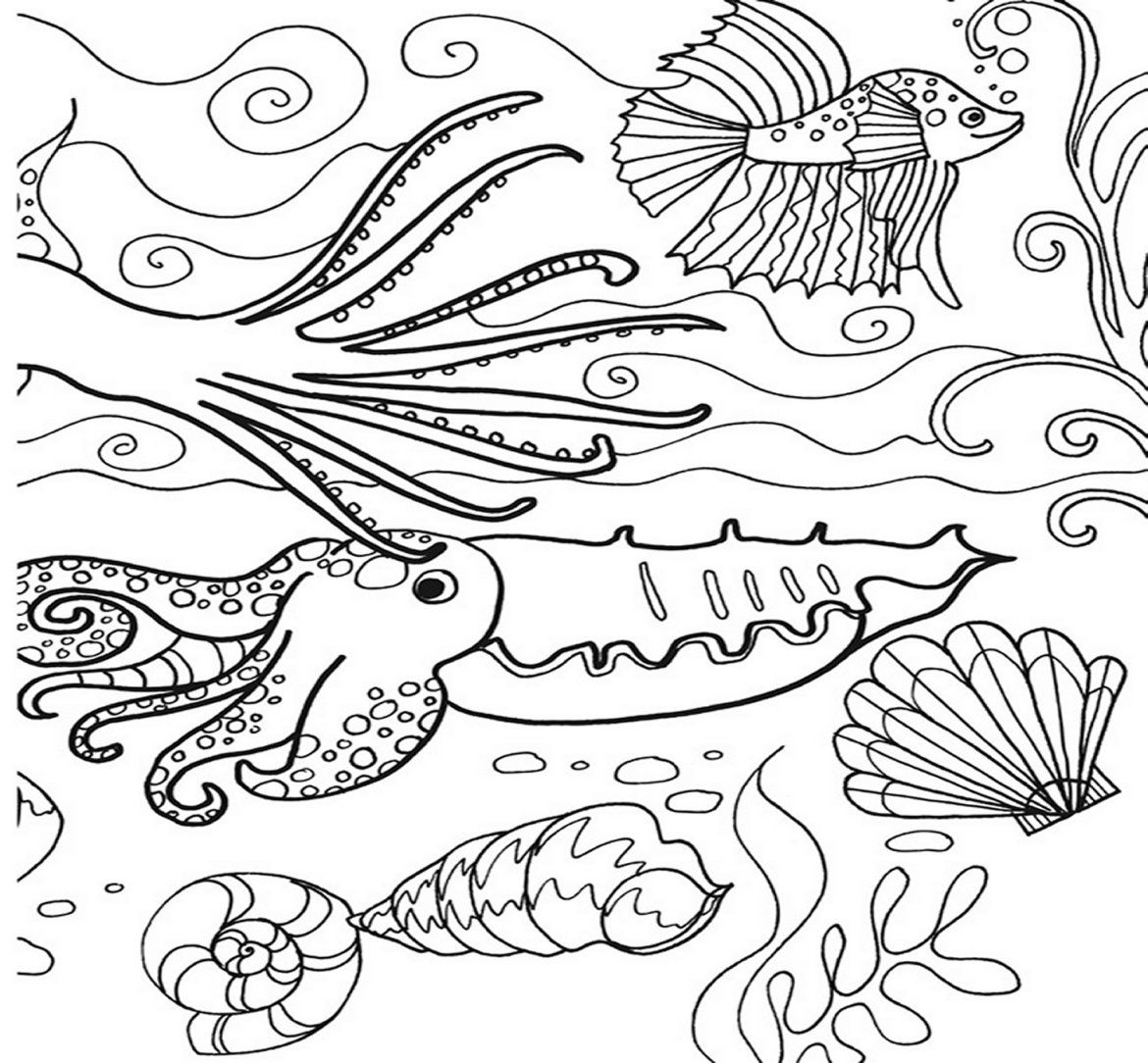 Picture coloring page with under the sea | Coloring For Kids | Pinterest