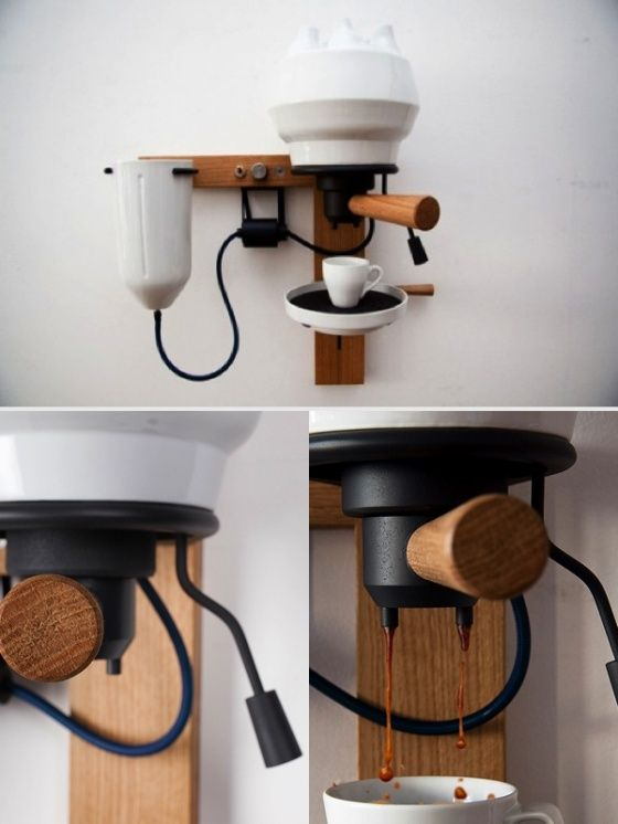 An Espresso Machine Made Of Wood And Porcelain A Sleek And